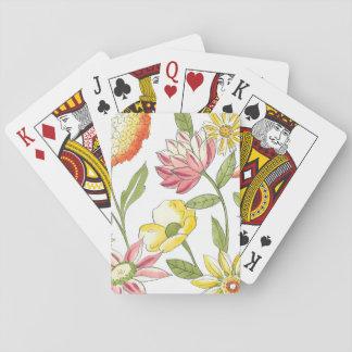 Diseño floral del jardín con el fondo blanco baraja de cartas