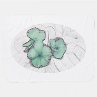 diseño floral del molinillo de viento de la flor v mantitas para bebé