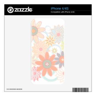 Diseño floral del movimiento de la acuarela en calcomanías para iPhone 4S