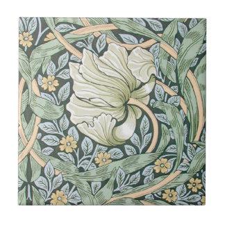 Diseño floral del Pimpernel de William Morris Azulejo Cuadrado Pequeño