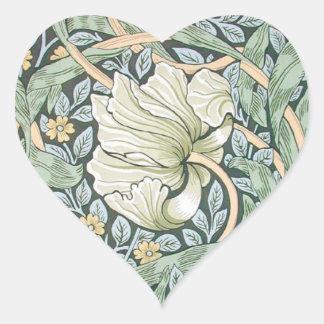 Diseño floral del Pimpernel de William Morris Pegatina En Forma De Corazón