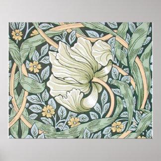 Diseño floral del Pimpernel de William Morris Póster