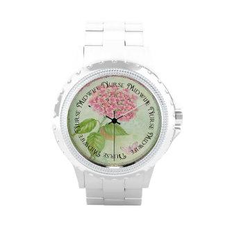 Diseño floral del reloj de la partera de la enferm