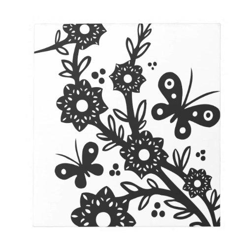 Diseño floral del remolino del chino bloc de notas