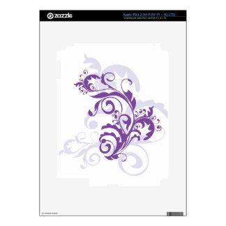 Diseño floral del remolino púrpura iPad 3 skins