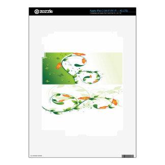 Diseño floral del remolino verde iPad 3 pegatina skin