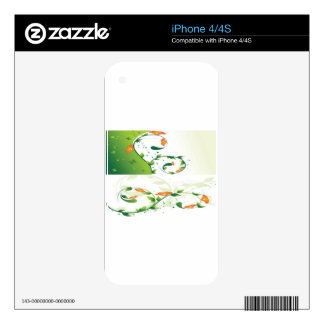 Diseño floral del remolino verde skins para iPhone 4