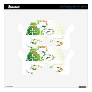 Diseño floral del remolino verde skins para mandos PS3