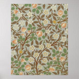 Diseño floral del trébol de William Morris del vin Impresiones