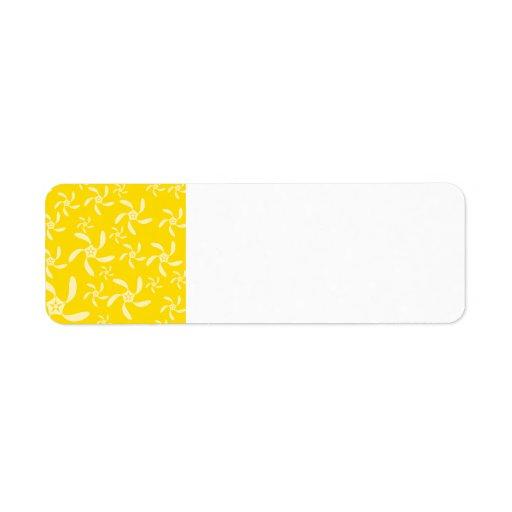 Diseño floral del verano. Amarillo soleado Etiqueta De Remitente