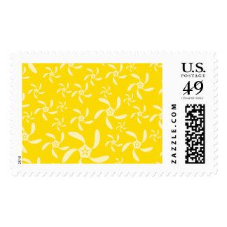 Diseño floral del verano. Amarillo soleado Sellos