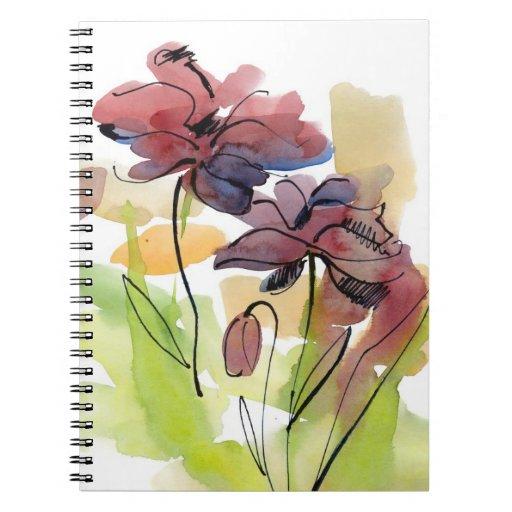 Diseño floral del verano con el extracto pintado a libreta