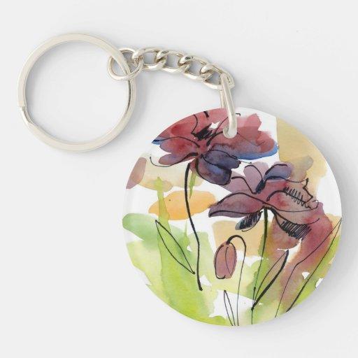 Diseño floral del verano con el extracto pintado a llaveros