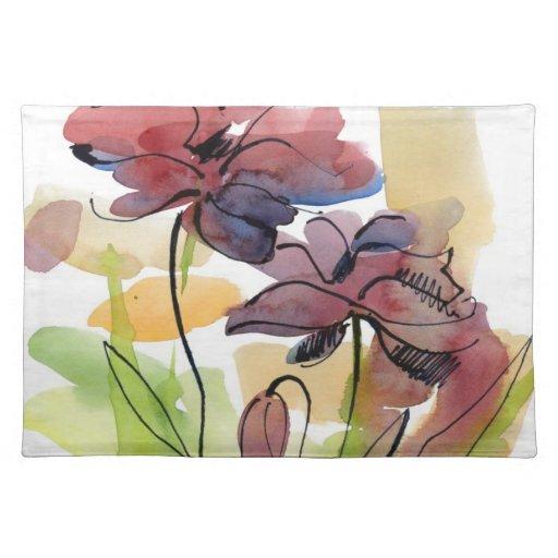 Diseño floral del verano con el extracto pintado a mantel