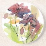 Diseño floral del verano con el extracto pintado a posavasos personalizados