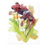 Diseño floral del verano con el extracto pintado a tarjetas postales