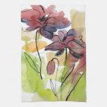 Diseño floral del verano con el extracto pintado a toalla de cocina