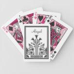 Diseño floral del Victorian blanco y negro Baraja Cartas De Poker