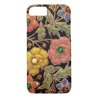 Diseño floral del vintage colorido de las cuentas funda iPhone 7