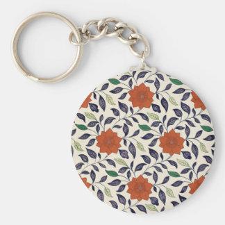 Diseño floral del vintage llavero redondo tipo pin