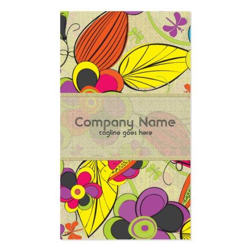 Diseño floral dibujado mano colorida de la moda re tarjeta de negocio