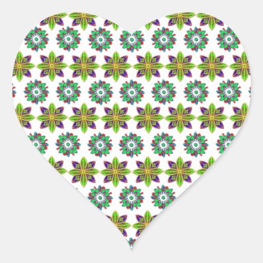 Diseño floral dos pegatina corazón