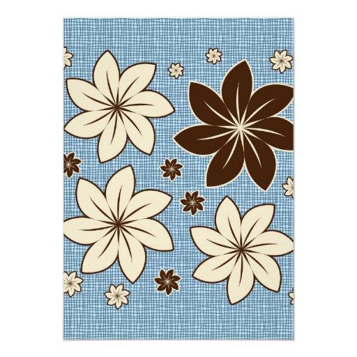 Diseño floral en azul invitacion personal