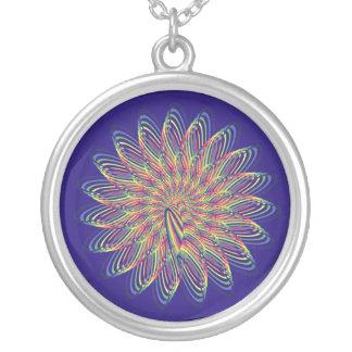 Diseño floral espiral del arco iris - fondo del colgante redondo