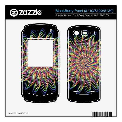 Diseño floral espiral del arco iris - fondo negro BlackBerry pearl skins