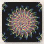 Diseño floral espiral del arco iris - fondo negro posavaso