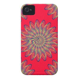 Diseño floral espiral del arco iris - fondo rojo iPhone 4 Case-Mate cárcasa