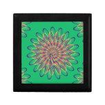 Diseño floral espiral del arco iris - fondo verde caja de regalo