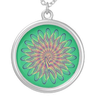Diseño floral espiral del arco iris - fondo verde colgante redondo