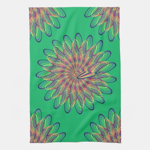 Diseño floral espiral del arco iris - fondo verde toalla de mano