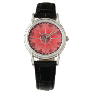 Diseño floral espiritual rojo de la mandala de reloj