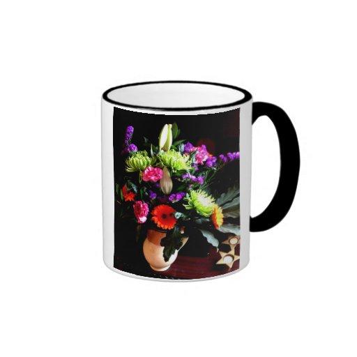 diseño floral, fotografía original tazas de café