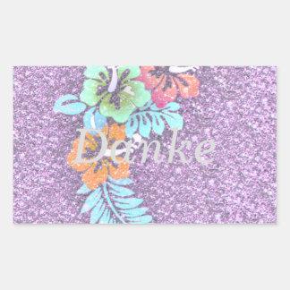 Diseño floral GINA, rosada Pegatina Rectangular