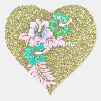 Diseño floral GINA, verde Pegatina En Forma De Corazón