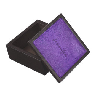 Diseño floral grabado en relieve ante púrpura cajas de regalo de calidad
