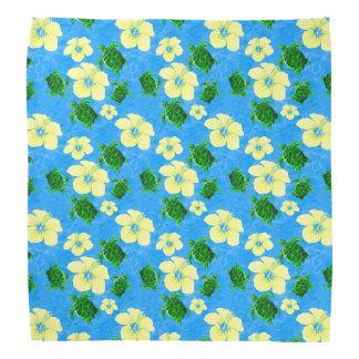 Diseño floral hawaiano de las tortugas de mar bandana