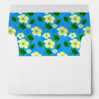 Diseño floral hawaiano de las tortugas de mar sobres