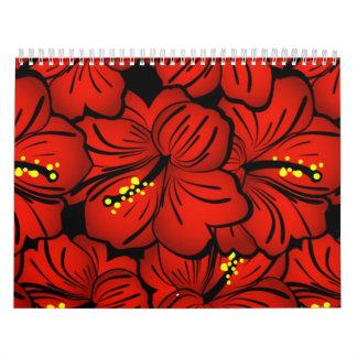 Diseño floral hawaiano tropical rojo del hibisco calendarios de pared