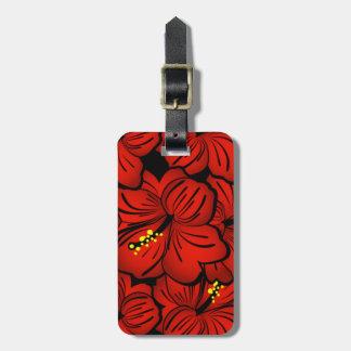Diseño floral hawaiano tropical rojo del hibisco etiqueta de equipaje