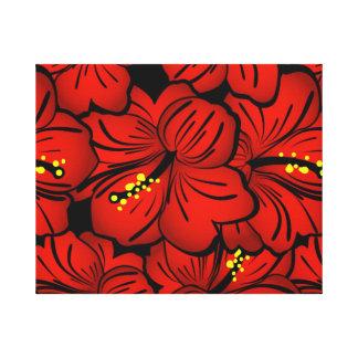 Diseño floral hawaiano tropical rojo del hibisco lona envuelta para galerías