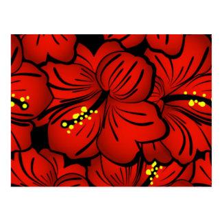 Diseño floral hawaiano tropical rojo del hibisco postal