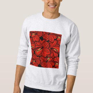 Diseño floral hawaiano tropical rojo del hibisco sudadera