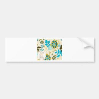 Diseño floral hermoso de los remolinos etiqueta de parachoque