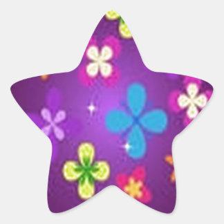 Diseño floral impresionante pegatina en forma de estrella