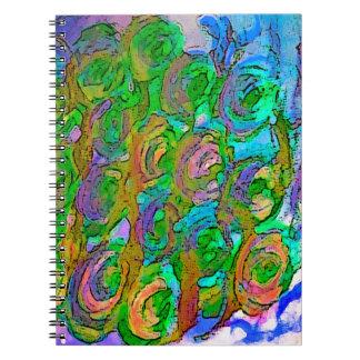 Diseño floral libros de apuntes con espiral