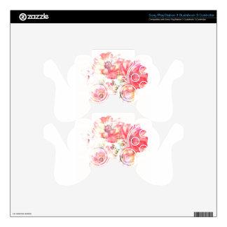 Diseño floral ligero calcomanía para mando PS3